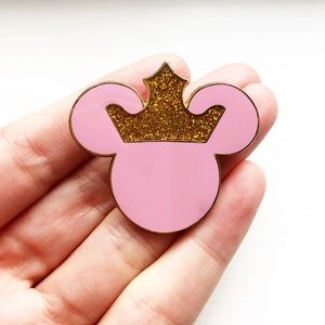 Vintage pink & gold crown Mickey Mouse ears pin